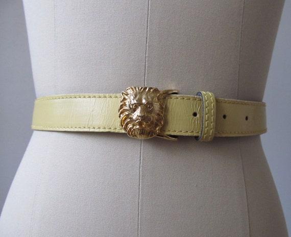 Cinch Belt / vintage 1980s Leather Belt / Lion Head Buckle / Anne Klein