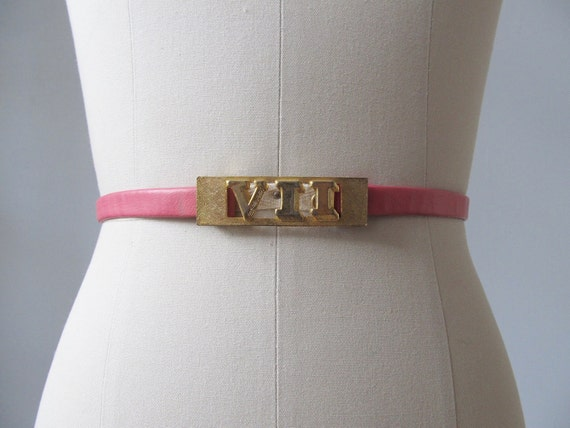 RESERVED Skinny Belt /  Roman Numeral Buckle / Adjustable Size / Pink