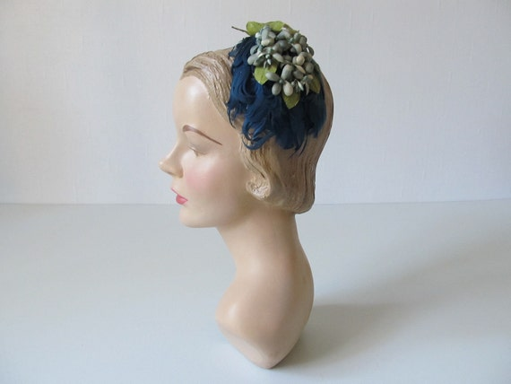 vintage 1950s Hat /  50s Headband Hat /  Blue Hyacinth