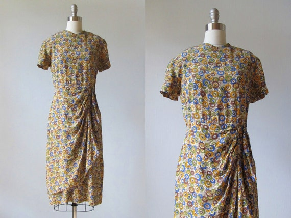 1940s Dresses / 40s Dress / Silk Dress / Winsome