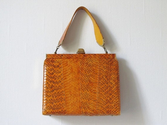 RESERVED Snakeskin Purse / 1960s Snakeskin Handbag / Town and Country