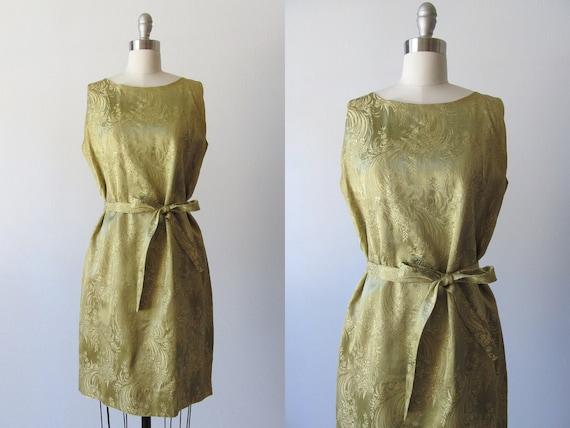 vintage 1960s Dress /  Sheath Dress / 60s Shift Dress / Brocade Mosswood