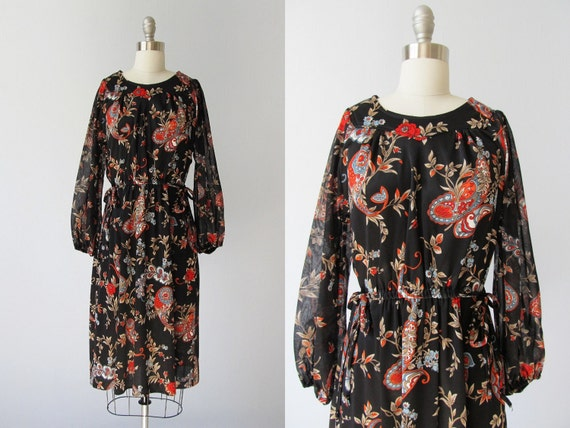 Boho Dress /  1970s Dress / Black Chiffon Dress / Floral Print Dress