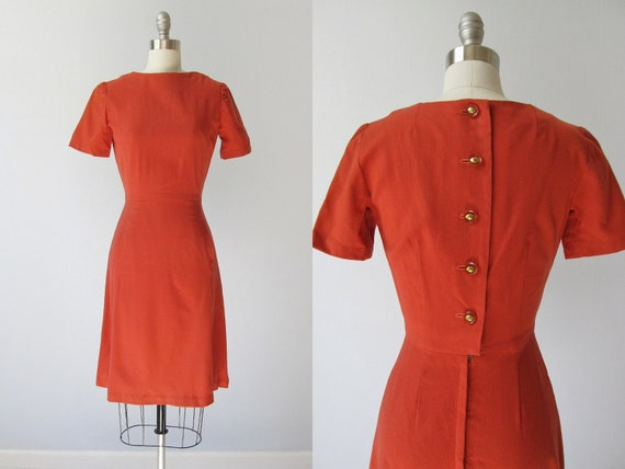 vintage 1940s Dress / 40s Dress /  Day Dress / Sweet Nostalgic