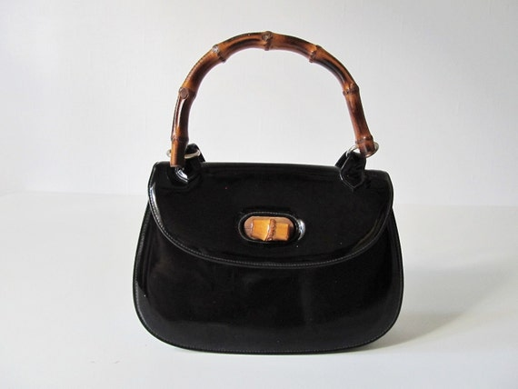 Reserved 1960s Handbag / 60s Handbag / Black with Bamboo / Completely chic