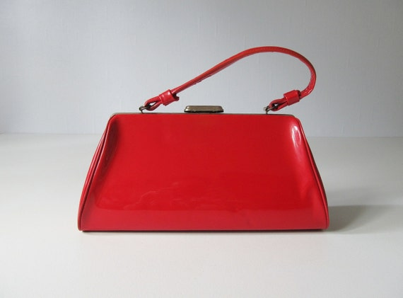 Red Handbag / 1960s Patent Handbag / Flame