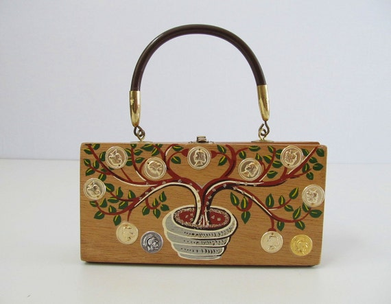 RESERVED vintage Cigar Box Handbag / Painted Wood / Gary Gails / The Money Tree