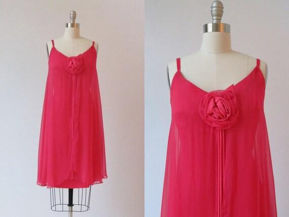 vintage 1960s Dress / 60s Dress / Chiffon Dress / Cerise Pink