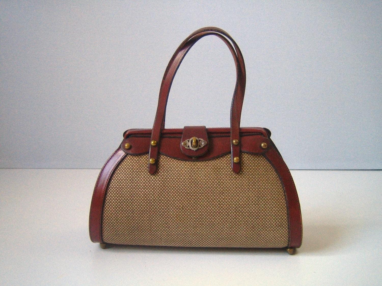 Vintage john romain tweed doctors handbag by thevintagemistress