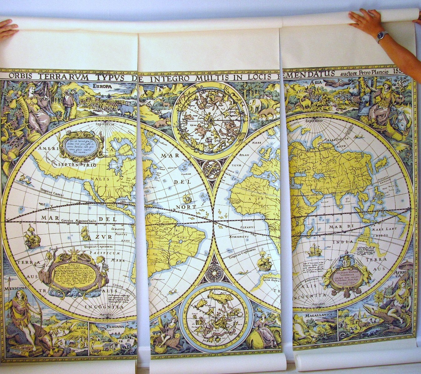 Vintage wallpaper mural wallpaper map by thevintagemistress for Antique map mural