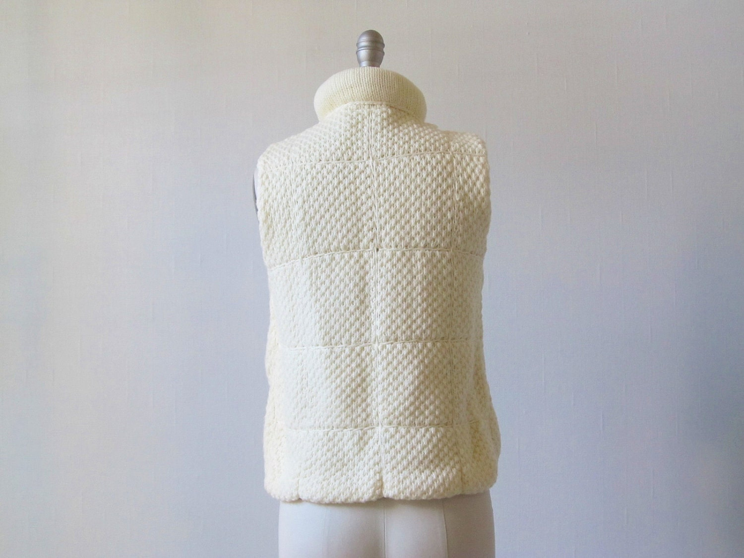 Puffy Vest Cream Knit Vest Quilted Vest