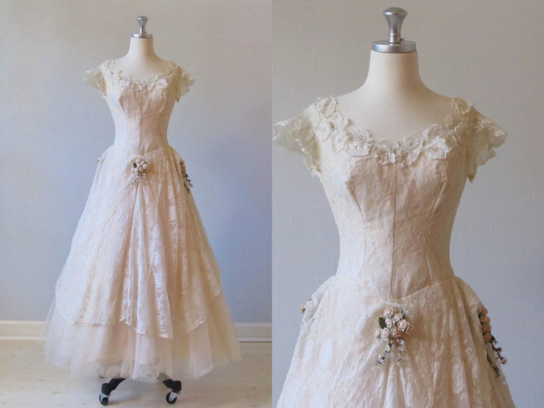 Reserved wedding dress vintage 1950s blush wedding dress for Blush vintage wedding dress