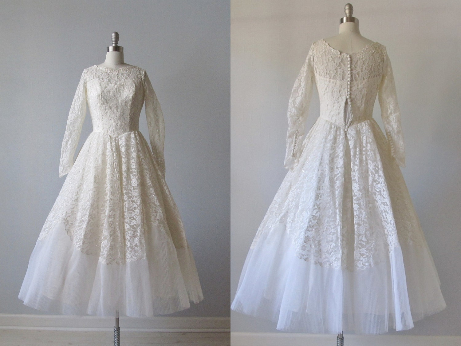 Tea length wedding dress 1950s tea length by for Etsy tea length wedding dress
