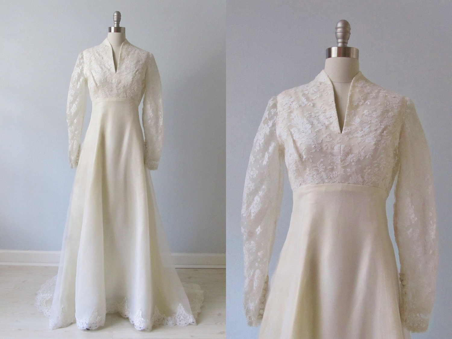 Vintage wedding dress 1970s wedding dress high collar for 1970s vintage wedding dresses