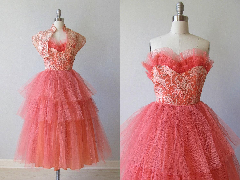 1950s Party Dress / 50s Strapless Prom Dress/ Cupcake Dress
