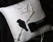 Romance Inspired Hand Beaded Black Bird Sillouette on a Winter Branch Ring Bearer Pillow...Custom Orders Available