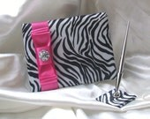Classic Silky Satin Zebra Print Guestbook and Pen Set with Rhinestone Accent...You Choose the Accent Colors.