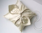 DUPIONI SILK Knottie Ring Bearer Pillow...You Choose the Silk Colors....Buy One Get One Half Off...shown in cream ivory/cream ivory
