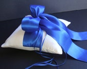 Large Bow Satin Ring Bearer Pillow...You Choose The Colors...Buy One Get One Half Off...shown in ivory/royal blue cobalt