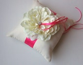 Romantic Bloom Ring Bearer Pillow with Crystal Rhinestone Accents..shown in ivory/fuschia hot pink