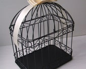 Black and Ivory Wedding Card Box Bird Cage with Rhinestone Accent..Any Color Available...