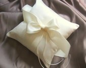 Pretty Dupioni Silk and Satin Ring Bearer Pillow..40 Plus Colors Available..shown in ivory/ivory