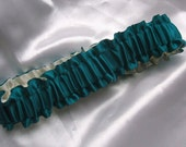 The Original Fully Reversible Bridal Garter..You Choose The Colors..shown in teal/ivory
