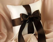 Romantic Satin Ring Bearer Pillow...You Choose the Colors...Buy One Get One Half Off...shown in ivory/chocolate brown