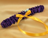 Simple Satin Bridal Garter with BONUS Something Blue..You Choose The Colors..shown in royal purple/yellow gold
