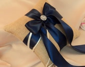 Rustic Burlap Ring Pillow with Satin Ribbons and Rhinestone Accent.......BOGO Half Off..You Choose the Colors...shown natural/navy blue