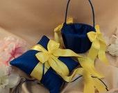 Custom Colors Flower Girl Basket and Romantic Satin Ring Bearer Pillow Combo...You Choose the Colors...shown in royal blue/lemon yellow