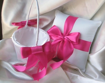 Custom Colors Flower Girl Basket and Romantic Satin Ring Bearer Pillow Combo...You Choose the Colors