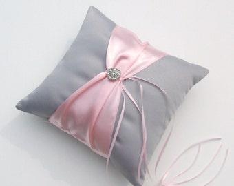 Bridal Satin and Sash Ring Bearer Pillow with Rhinestone Button Accent....You Choose The Colors..shown in gray/pale pink