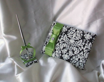 Ivory and Black Damask Wedding Guest Book Set...Dominate Pattern...You Choose the Colors