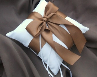 Romantic Satin Ring Bearer Pillow...You Choose the Colors...Buy One Get One Half Off...shown in white/sable gold