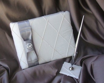 Pintuck Taffeta Diamonds Wedding Guestbook and Pen Set in Ivory with Silver Sash and Rhinestone Button