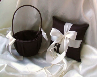Custom Colors Flower Girl Basket and Romantic Satin Ring Bearer Pillow Combo...You Choose The Colors..shown in chocolate brown/ivory