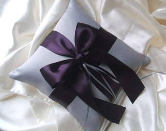 Romantic Satin Ring Bearer Pillow...You Choose the Colors...Buy One Get One Half Off..shown in silver/eggplant