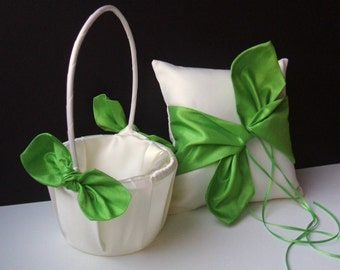 Knottie Style Flower Girl Basket and Ring Bearer Pillow Combo...You Choose the Colors...shown in ivory and midori green