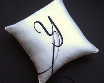 Simple Dupioni Silk Monogram Ring Bearer Pillow...You Choose The Colors. Buy One Get One Half Off..