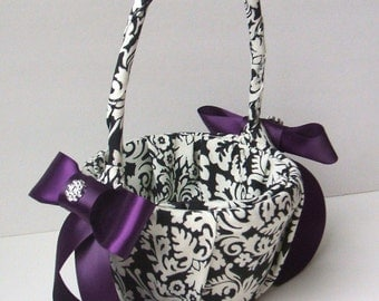 Waverly Dasmask Black and Ivory Flower Girl Basket...Dominate Pattern...You Choose The Ribbon Colors...Shown with Eggplant Accent