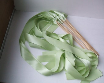 Instead of Rice Jumbo Ribbon Streamer Bamboo Sticks..PACK OF 50...You choose the Ribbon Color..shown in light sage