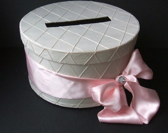 Pintuck Taffeta Diamonds Wedding Card Box with Rhinestone Accent...You Choose the Colors..shown in ivory/pale blush pink