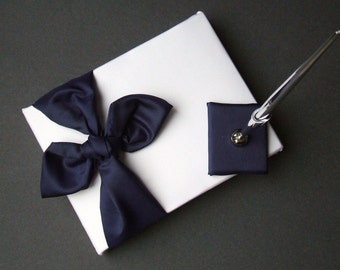 Knottie Style Satin Guest Book...You Choose The Colors..Shown in white/navy blue
