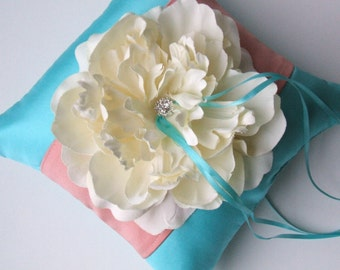 Romantic Bloom Ring Bearer Pillow with Crystal Rhinestone Accents..shown in turquoise/coral/ivory