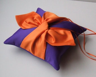 Knottie Ring Bearer Pillow...You Choose the Colors....Buy One Get One HALF OFF..shown in purple/orange