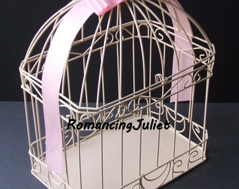 Ivory Cream Wedding Card Box Bird Cage Style..Any Color Available...