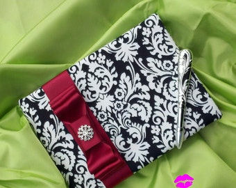 Ivory and Black Damask Wedding Guest Book Set...Dominate Pattern...You Choose The Ribbon Colors...shown in scarlet red