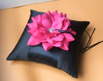 10 inch Satin and Sash Ring Pillow with Large Handmade Rose with Rhinestone..You Choose The Colors..shown in black/black/hot pink fuschia