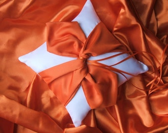 Knottie Satin Ring Bearer Pillow...You Choose the Colors....Buy One Get One HALF OFF..shown in white/orange